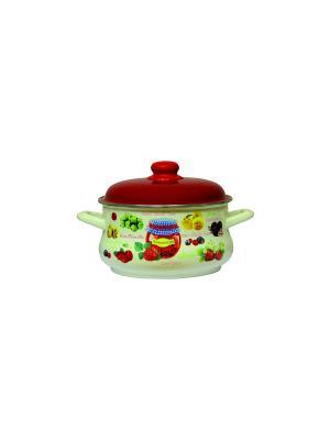 Глубокая кастрюля с мет. крышкой 3,5 л METROT. Цвет: бежевый, красный, салатовый
