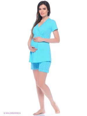 Комплект домашней одежды для беременных и кормления (блузка, шорты) 40 недель. Цвет: голубой