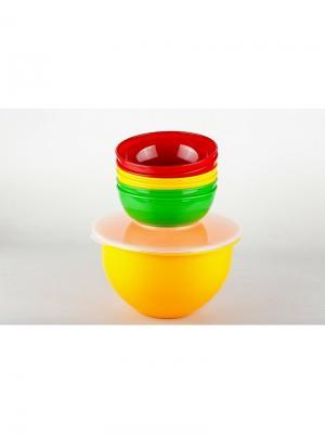 Solaris S1606 набор посуды: 6 мисок 0,6л в контейнере. Цвет: синий, красный, желтый