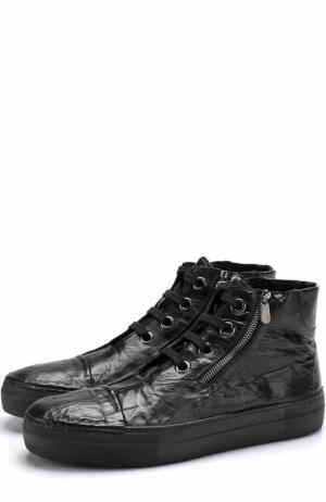 Высокие кожаные кеды на шнуровке с внутренней меховой отделкой Rocco P.. Цвет: черный
