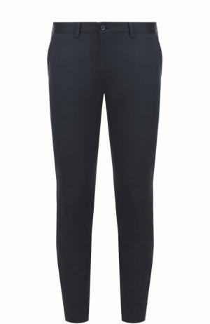 Хлопковые брюки с контрастными лацканами Dolce & Gabbana. Цвет: темно-синий