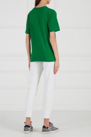 Зеленая футболка из хлопка BLANK.MOSCOW. Цвет: зеленый