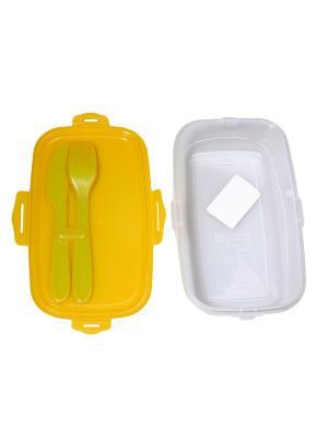 Ланч-бокс со столовыми приборами Migura. Цвет: прозрачный, желтый