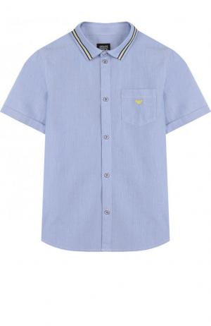 Хлопковая рубашка с короткими рукавами и контрастной отделкой Armani Junior. Цвет: голубой