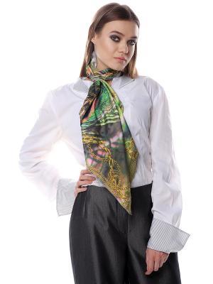 Платок шёлк,Золотистые перья павлина в золотых цепях SEANNA. Цвет: зеленый