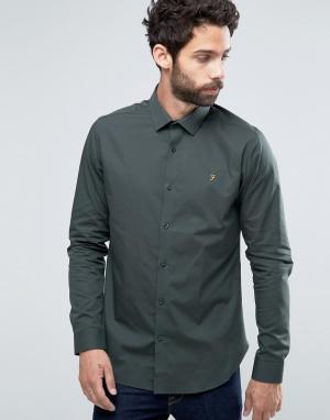 Farah Строгая рубашка слим Berbick. Цвет: зеленый