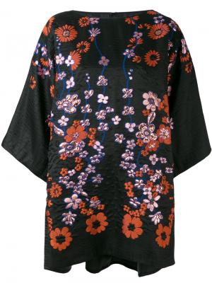 Floral embroidered tunic Talbot Runhof. Цвет: чёрный