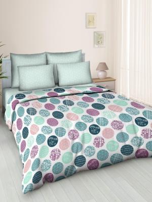 Комплект постельного белья, 2,0-сп, бязь, пододеяльник на молнии Letto. Цвет: розовый, зеленый, серый