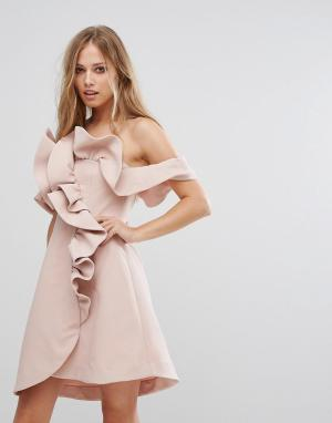 Keepsake Платье мини с рюшами Messages. Цвет: розовый