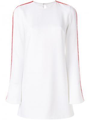 Укороченное платье с полосками по бокам Galvan. Цвет: белый
