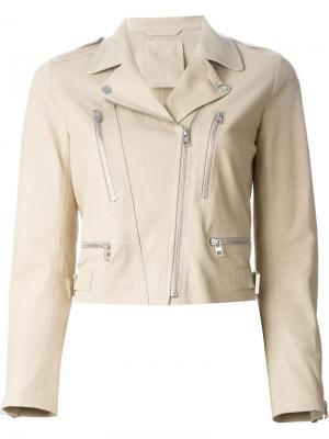 Укороченная байкерская куртка Raw +. Цвет: телесный