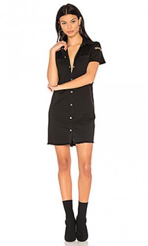 Джинсовое платье на пуговицах Etienne Marcel. Цвет: черный