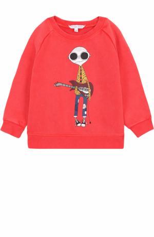 Хлопковый свитшот с принтом Marc Jacobs. Цвет: красный