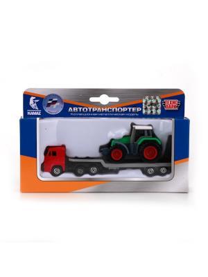 Набор Технопарк металлический КАМАЗ. Транспортер с трактором.. Цвет: зеленый,красный