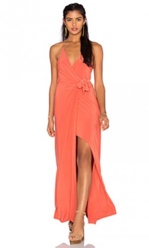 Макси платье veronika MISA Los Angeles. Цвет: оранжевый