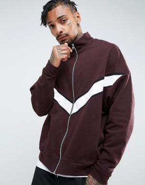 ASOS Свободная трикотажная спортивная куртка со вставками. Цвет: красный