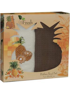 Кухонные полотенца в подарочной коробке ЛЮКС  2 шт., 30х50 см, 100% хлопок Dorothy's Нome. Цвет: коричневый, светло-коричневый, светло-оранжевый, темно-бежевый