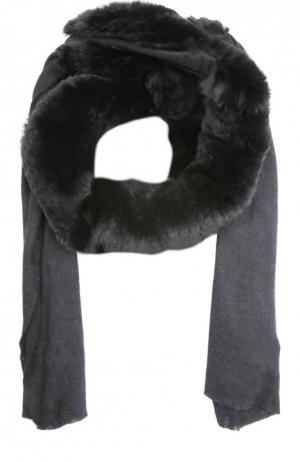 Кашемировый шарф с отделкой из меха кролика Franco Ferrari. Цвет: черный