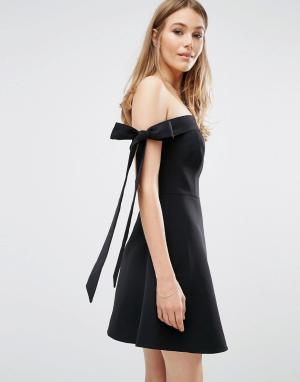 Keepsake Платье с открытыми плечами и бантиками. Цвет: черный