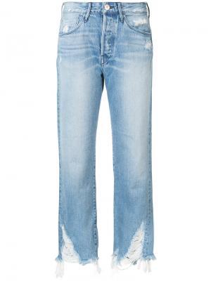 Укороченные джинсы с необработанными краями 3X1. Цвет: синий
