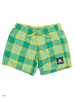 Плавательные шорты дет. спорт. YB CHECK SH ML  CORGRN/BYELLO/EASGRN Adidas. Цвет: зеленый, желтый