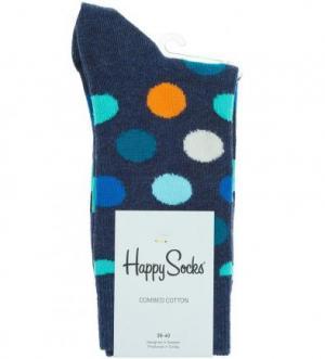 Носки из хлопка в горошек Happy Socks. Цвет: синий