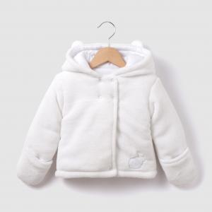 Пальто флисовое с капюшоном на 0 мес.- 3 года La Redoute Collections. Цвет: белый,серый