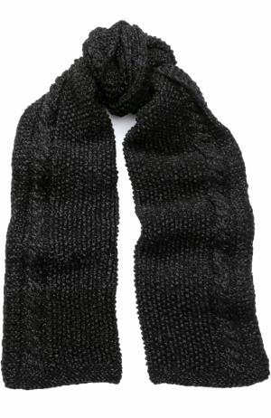 Шерстяной шарф с отделкой металлизированной нитью 0711. Цвет: черный