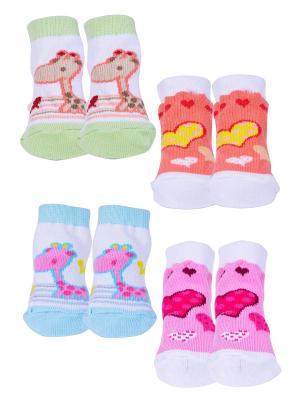 Носки, 4 пары Malerba. Цвет: зеленый, оранжевый, розовый