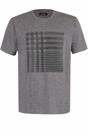 Хлопковая футболка с принтом Z Zegna. Цвет: серый