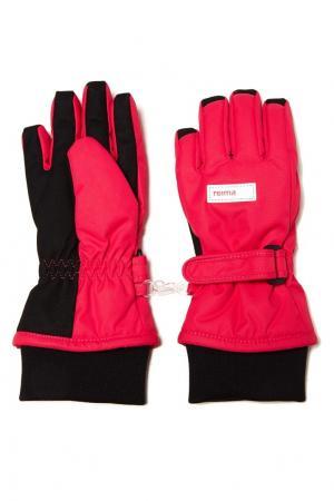 Розовые перчатки на липучке Reima. Цвет: розовый
