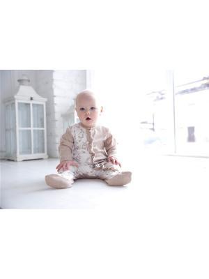 Комбинезон нательный для малышей Веселый малыш. Цвет: молочный, светло-коричневый