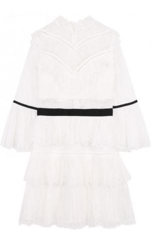 Кружевное мини-платье с укороченным рукавом и контрастным поясом self-portrait. Цвет: белый