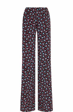 Шелковые расклешенные брюки с принтом Marni. Цвет: разноцветный