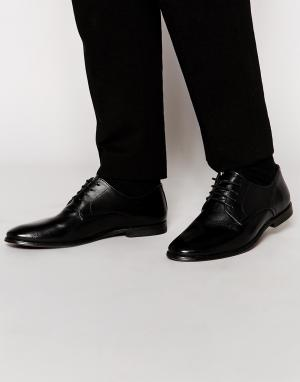 ASOS Черные кожаные туфли дерби. Цвет: черный
