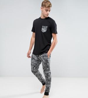 Brave Soul Комплект одежды для дома с камуфляжным принтом. Цвет: черный