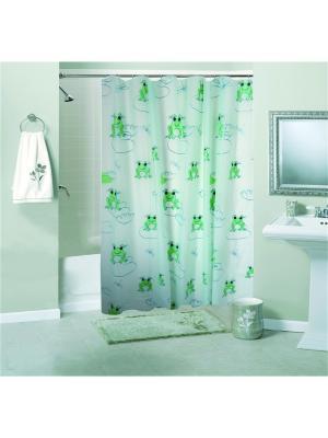 Штора для ванной комнаты 180х180см, Лягушки, PEVA NIKLEN. Цвет: светло-зеленый