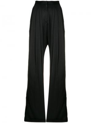 Расклешенные плиссированные брюки Alcoolique. Цвет: чёрный