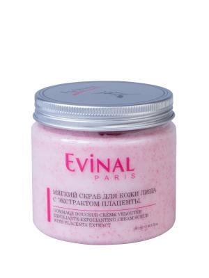 Мягкий скраб для кожи лица с экстрактом плаценты EVINAL. Цвет: бледно-розовый