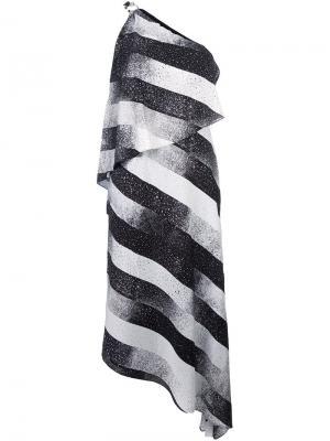 Асимметричное платье в полоску на одно плечо Halston Heritage. Цвет: чёрный
