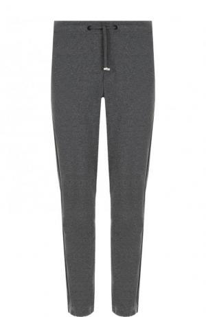 Хлопковые брюки прямого кроя с поясом на кулиске Bogner. Цвет: серый