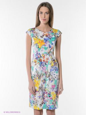 Платье KEY FASHION. Цвет: белый, зеленый, желтый