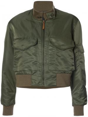 Укороченная куртка-бомбер Nili Lotan. Цвет: зелёный