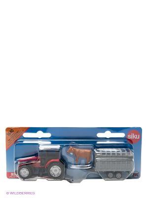 Трактор с прицепом для скота. SIKU. Цвет: синий