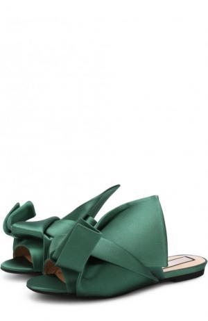Атласные сабо с бантом No. 21. Цвет: зеленый
