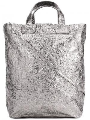 Средняя сумка-тоут с отделкой металлик Zilla. Цвет: металлический