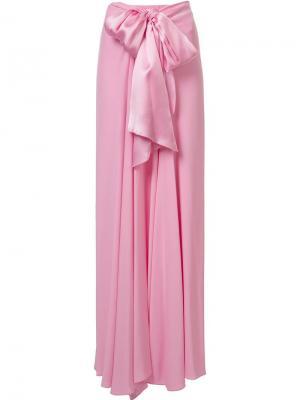 Длинная юбка Charmeuse Long Bow Front Tome. Цвет: розовый и фиолетовый