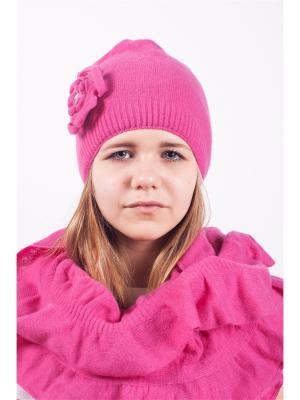 Шапка; шарф MARIELA. Цвет: малиновый