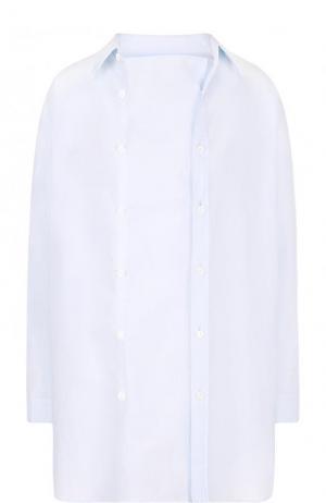 Однотонная хлопковая блуза свободного кроя Yohji Yamamoto. Цвет: голубой