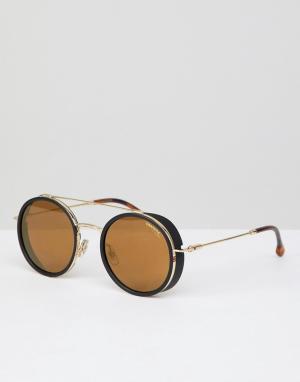 Carrera Круглые солнцезащитные очки в золотистой оправе. Цвет: золотой